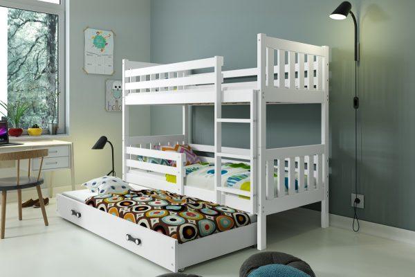 Køyeseng Carino for 3 inkludert 3 madrasser HVIT