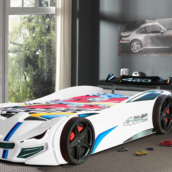 GT1 Racerbilseng – 90×190 – LED LYS – Hvit8