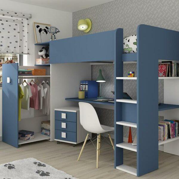 Loftseng Trasman med garderobe – blå
