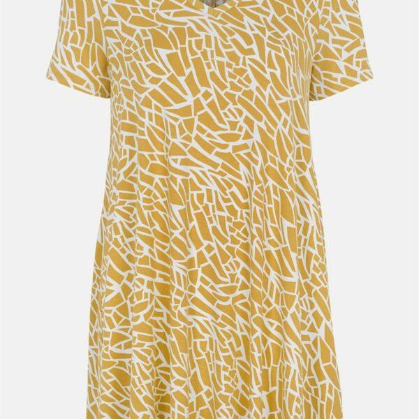 Mønstret tunika med kort erm.'