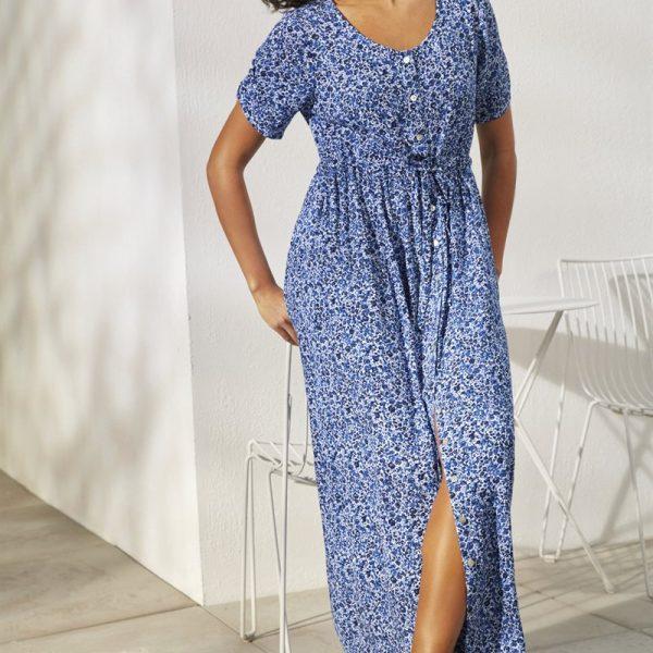 Lang kjole i krepp'