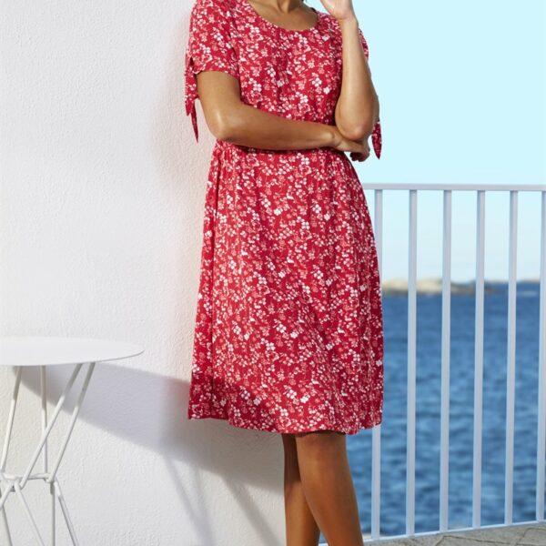 Mønstret kjole med vaffelsøm'