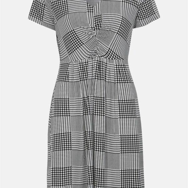 Jersey-kjole svart-hvitt mønstret med kort arm'