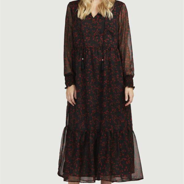 Mønstret kjole med volang'