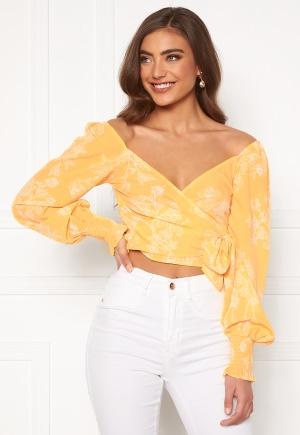 BUBBLEROOM Devin wrap top Yellow / White 42