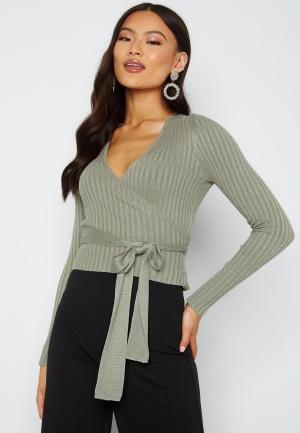 BUBBLEROOM Enea knitted wrap top Dusty green XL