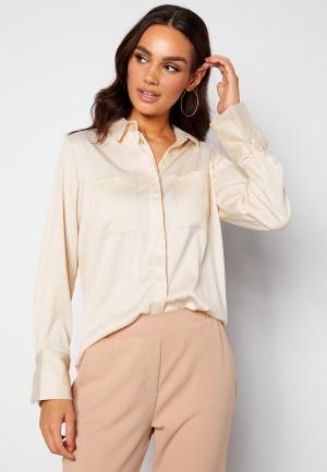 BUBBLEROOM Kelsey utility satin shirt Cream 38