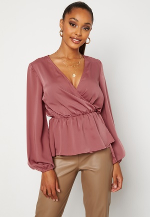 BUBBLEROOM Mereen wrap blouse Old rose 44