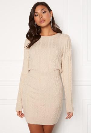 BUBBLEROOM Rishi knitted dress Light beige XL