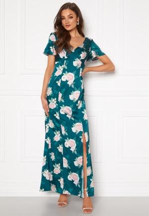 Chi Chi London Meadow Floral Maxi Dress Teal L (UK14)