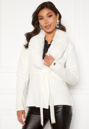 Chiara Forthi Arina heavy knit wrap jacket Winter white 38