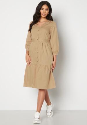 Happy Holly Adelyn balloon sleeve dress Light beige 36/38