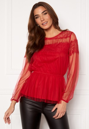 Happy Holly Smilla ls mesh blouse Red 40/42
