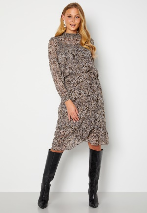 ONLY Star Fake Wrap Skirt Taupe Gray AOP Leo XL