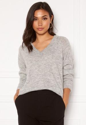 SELECTED FEMME Lulu LS Knit V-Neck Light Grey Melange M